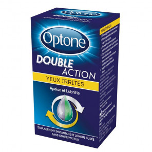 Optone double action yeux irrité gouttes 10ml