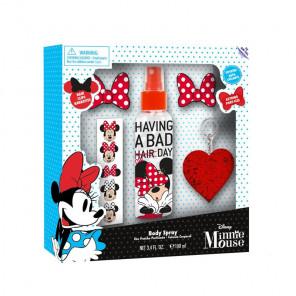Coffret Minnie avec eau fraiche parfumée, autocollant, barrettes et porte-clés